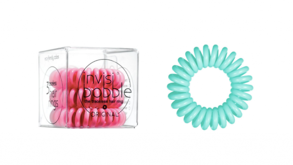 pink invisi bobble and turquoise elastic